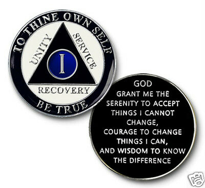 YRS 1-45 AA Anniversary Recovery Coin/Medalliion Black/White/Blue with Silver