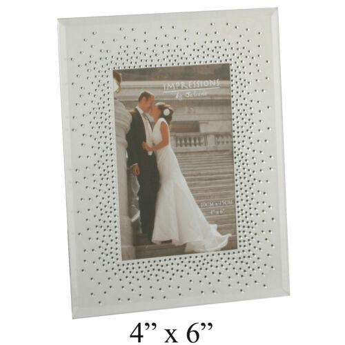 Glitter Mirror Glass Photo Frame Starburst Crystals Wedding Engagement Gift 4x6