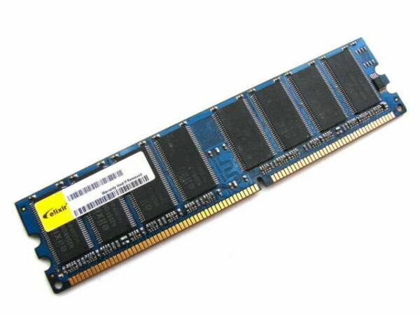1GB Elixir DDR1 RAM PC3200U 400MHz CL3 M2U1G64DS8HB1G-5T Storage Memory Modules