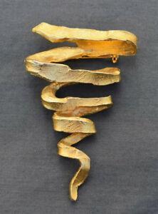 achat original mieux aimé en présentant Détails sur BROCHE VINTAGE bronze doré forme moderniste dans le gout de  Line Vautrin