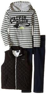 Calvin-Klein-Boys-Black-Quilted-Vest-3pc-Denim-Pant-Set-Size-2T-3T-4T-4-5-6-7
