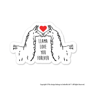 Llama Love You Love Sticker Valentines Heart Decal Car