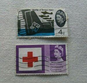 FRANCOBOLLI-regno-unito-2x-commemorations-battle-of-england-centenary-red-cross