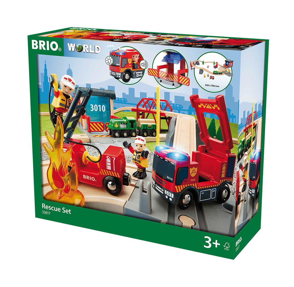 Wooden Railway Feuerwehrset Big Fire Brigade Brigade Brigade Deluxe Set Brio 33817 18e667