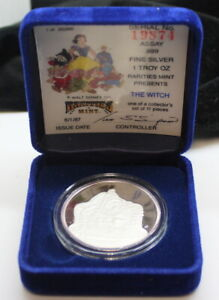 The Witch 1987 Disney Snow White 50th Ann. Proof Silver 1 Troy Oz  with box/COA
