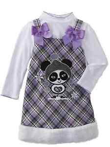 c1e0134da7c Details about Youngland Toddler Girls Panda Bear 2 PC Dress Set Jumper &  Long Sleeve Shirt