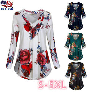 Plus-Size-Women-Floral-V-Neck-Tunic-Top-Shirt-Casual-Loose-Long-Sleeve-Blouse-US