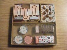 Binder Clips Thumb Tacks Magnets Erasers Desk Accessories Set Pink Rose Gold New