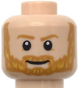 Lego Dark Orange Minifig Head Dual Sided Gold Headband and Eyes White Face