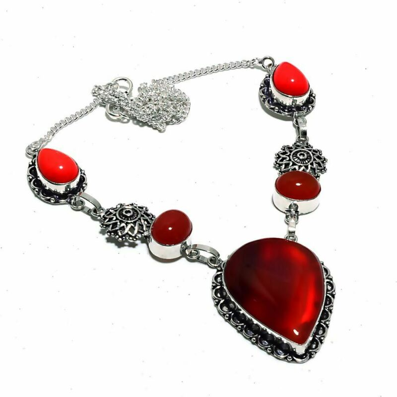 Carnalian,coral Ethnic Jewelry Handmade Necklace 27 Gms Un-3967