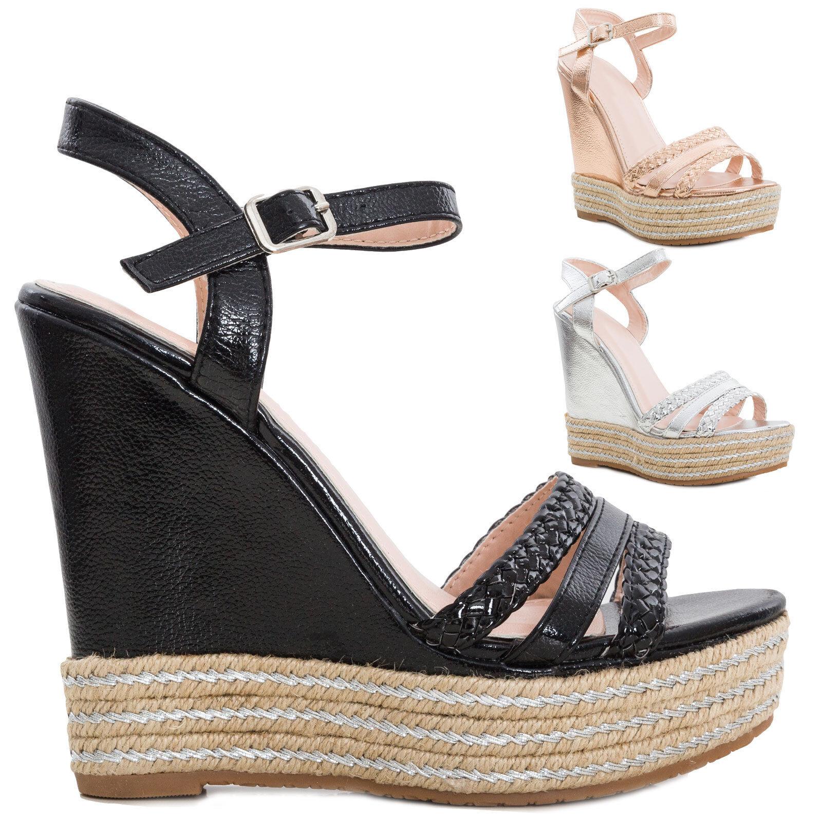 Women's shoes sandals wedges eco-leather effect metallized heels big KA-50