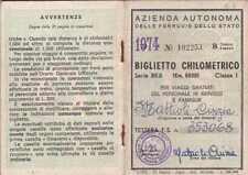 TESSERA BIGLIETTO CHILOMETRICO 1974 AZIENDA AUTONOMA FERROVIE DELLO STATO 19-94