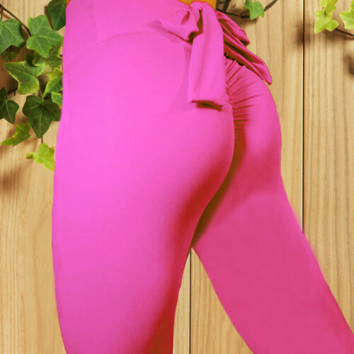 Women Bow-Knot Yoga Leggings Workout High Waist Gym Sport Pants Running Trouser