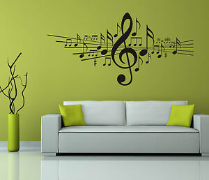 wandtattoo wohnzimmer notenschl ssel mit noten musik ebay. Black Bedroom Furniture Sets. Home Design Ideas
