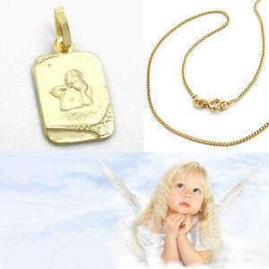 Juwelier Baby Kinder Schutz Engel Anhänger Gold 585 & Kette Silber 925 Vergoldet