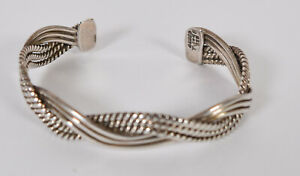 Vintage-Taxco-Sterling-Silver-Braided-Cuff-Bracelet-Mexico-925