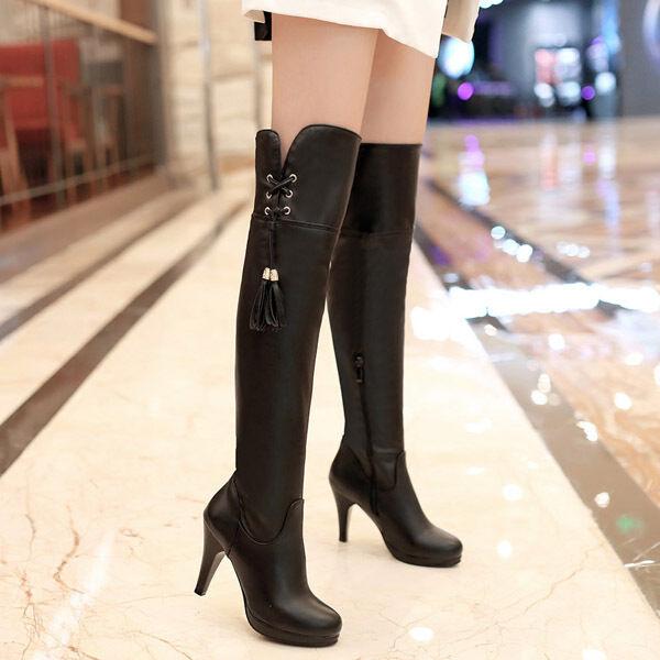 Women's Zip High Heel Platform Over the Knee Boots Party shoes UK Size 34-47