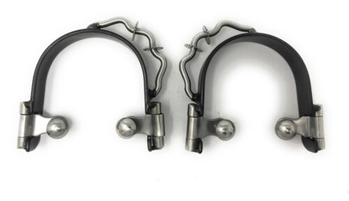Bumper Spurs with Small Silver Rowels Black Steel Horse Tack Mens Size