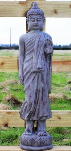 Garden Ornament Thai Buddha Ceramic Tall Standing Outdoor Indoor Statue Grey