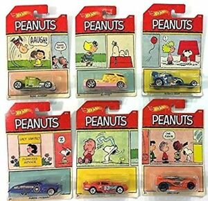 HOT-WHEELS-PEANUTS-DIE-CAST-VEICOLO-1-64-CHARLY-BROWN-SNOOPY-Cars-6-in-ca-15-24-cm-il-Set