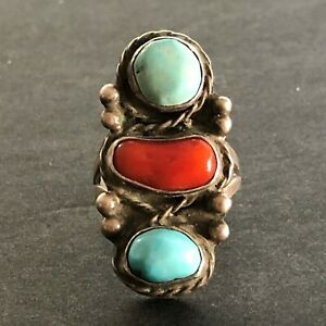 Vintage Native American Navajo sterling silver turquoise coral old statement ring