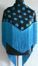 "Spanish Flamenco black shawl  with blue polka dots & fringe 57""x34"" 145 x 86cm"