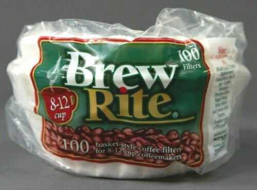 """100 count Brew Rite BASKET 8-12 cup Paper COFFEE FILTERS 3 1//4/"""" Round Base"""