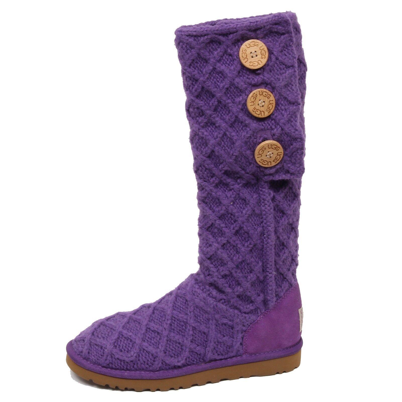 F0234 (NO BOX) chaussure femme botte UGG écharpe / laine en daim violet foncé Stivale