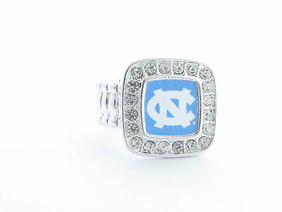 North Carolina Tar Heels Blue Silver Stretch Ring Jewelry UNC
