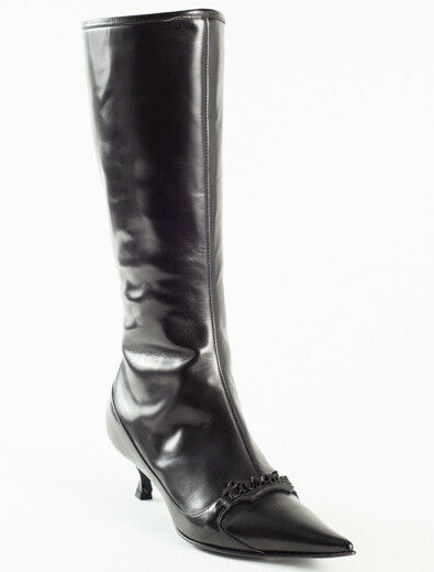 New Casadei Black Leather Made in Italy  Boots Size 36.5 US 6.5