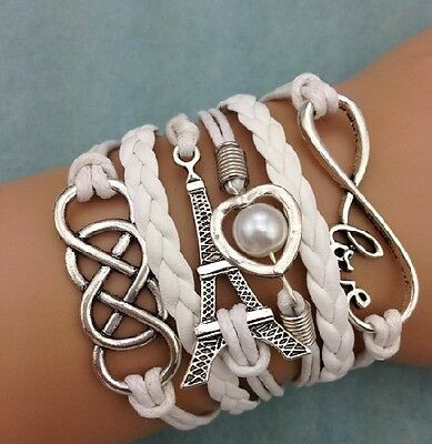 NEW Infinity LOVE Heart Eiffel Tower Friendship Leather Charm Bracelet Silver !!