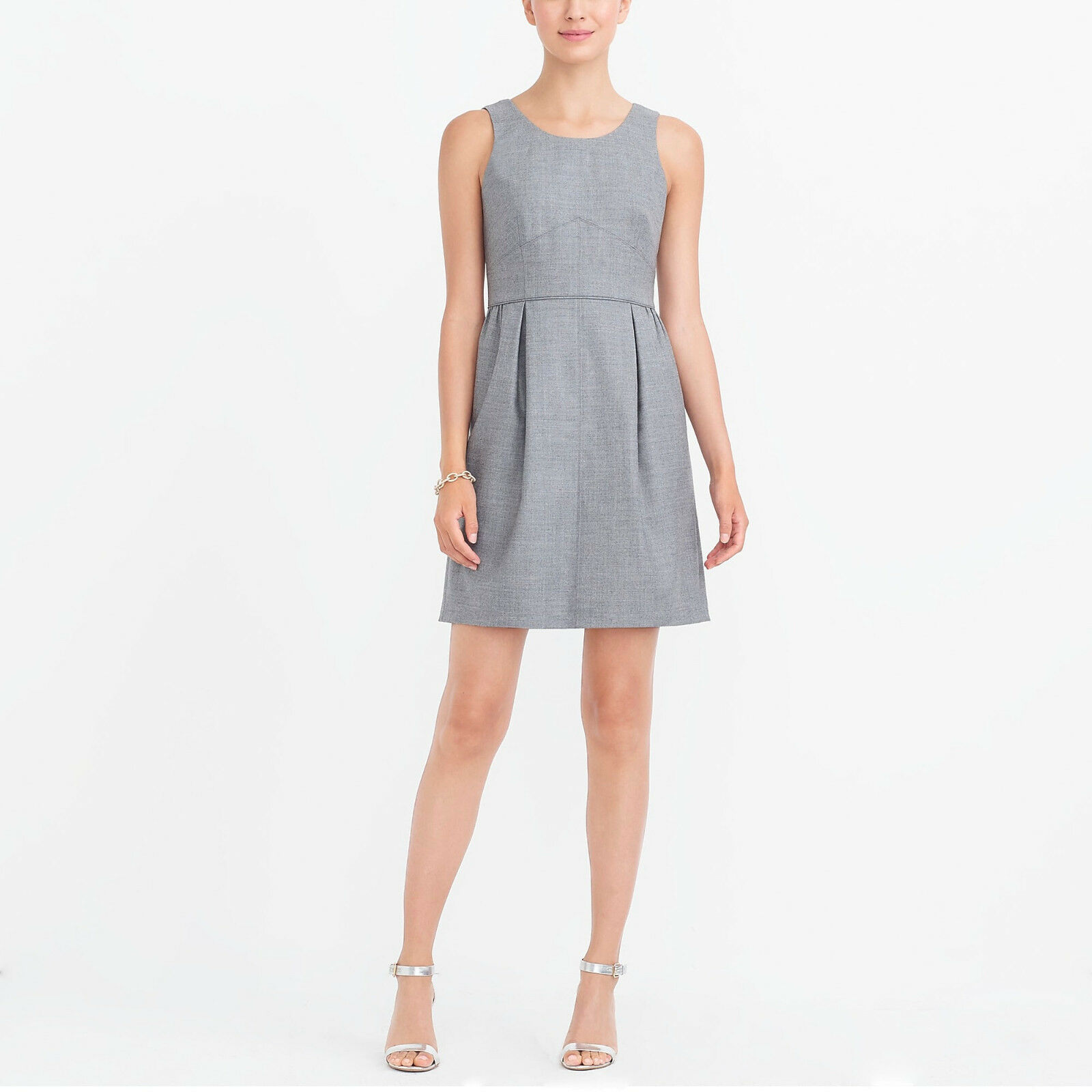 J Crew Pleated Shift Dress Sleeveless Wool Flannel 02667 Heather Pewter 4