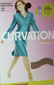 58fac1b3ccc3a Image is loading Curvation-Body-Sculptor-Silky-Sheer-Leg-Pantyhose- Curvaceous-