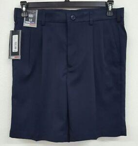 Roundtree-amp-Yorke-Travel-Smart-Navy-Pleated-Men-039-s-Shorts-NWT-40-Choose-Size