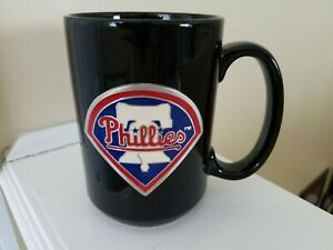 Philadelphia-Phillies-Black-Coffee-Mug-Pewter-Emblem-Liberty-Bell-MLB-Baseball