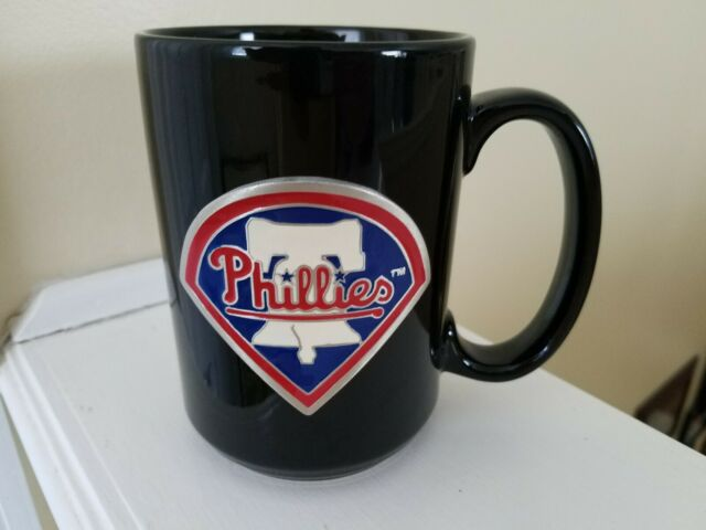Philadelphia Phillies Black Coffee Mug Pewter Emblem Liberty Bell MLB Baseball
