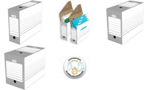 20x Elba Archivschachtel Aufbewahrungsbox A4 100mm weiß grau Wellpappe