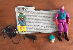 Vintage-GI-Joe-Cobra-ARAH-1988-Toxo-Viper-Complete-w-File-Card
