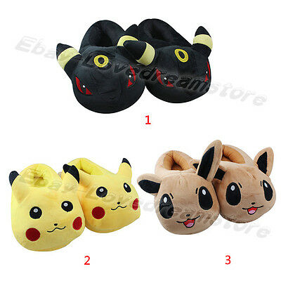 POKEMON Pikachu Umbreon Eevee Soft Plush Stuffed Slippers Adult Size Home Shoes