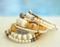 Sandy Beach Seven Rounds Memory Wire Bracelet Pearls Jade Tibetan Silver Moon