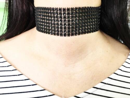 SILVER GOLD BLACK PINK Thick Crystal Rhinestone Choker Wide NEW CELEBRITY Velvet