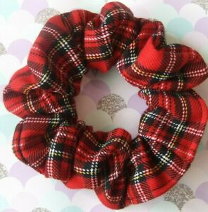 Red Tartan Scrunchie Hair Elastic Band Bobble