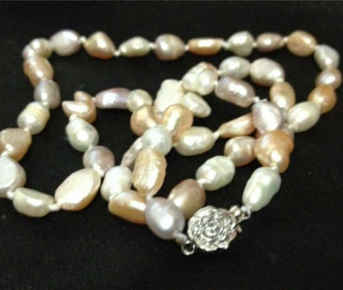 """NEW long 25/"""" 7-8mm baroque white+Pink+Purple freshwater pearl necklace AAA"""