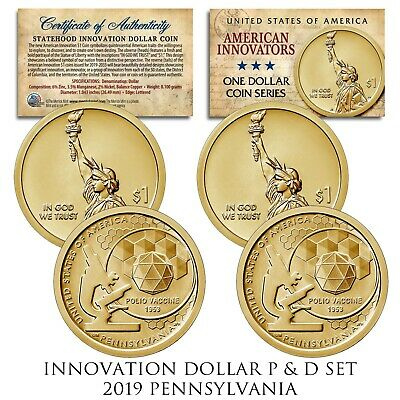 2019 P/&D One Dollar American Innovation Innovators Pennsylvania U.S Mint Coins