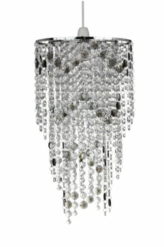 KLIVING RAMSAY SMOKE GREY//PURPLE /& CLEAR ACRYLIC BEADS CEILING PENDANT LAMPSHADE