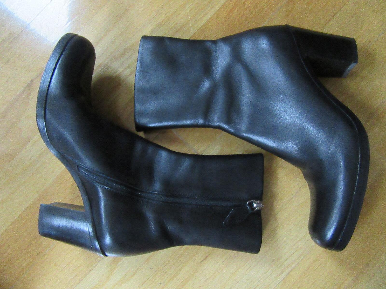 miglior reputazione Jil Sander Sander Sander nero Block  Low Heel Leather stivali Dimensione 35 US 4.5 - 5 M  prezzo all'ingrosso