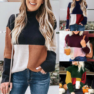 Women-Winter-Knitted-Sweater-Long-Sleeve-Colorblock-Jumper-Loose-Pullover-Tops