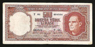 1974 Prefix N 43 P-190 Turkey 500 Lira 1971 UNC-