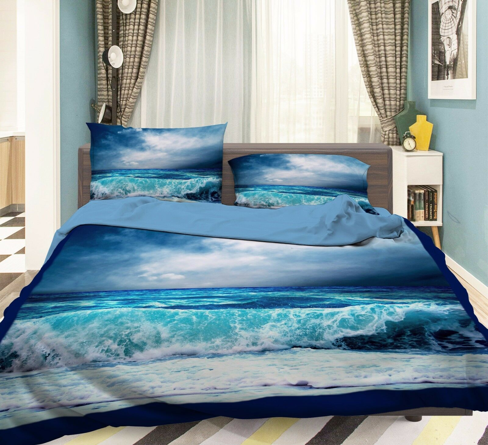 3D Waves Bule 774 Bed Pillowcases Quilt Duvet Cover Set Single Queen UK Summer