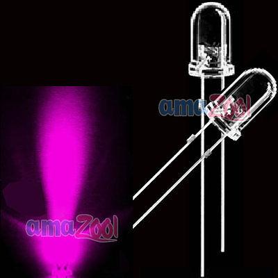 50pcs F5 5mm Pink Round SUPER BRIGHT LED LAMP  NEW  Pink